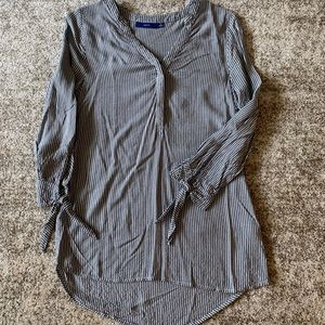 Grey and white striped tunic blouse